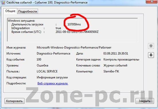 Время загрузки и завершения работы Windows