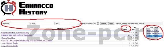 Расширяем функционал истории в Google Chrome